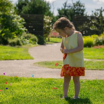 Handmade Girls 2 in 1 Dress - Limited Edition - Buttercup with Orange Spots