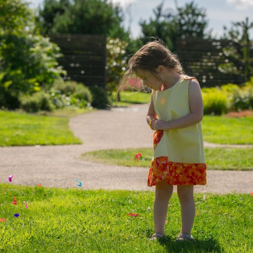 Girls 2 in 1 Dress - Limited Edition - Buttercup with Orange Spots