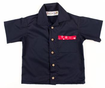 Limited Edition, Handmade Boys Shirt - Navy with Nautical Theme Trim