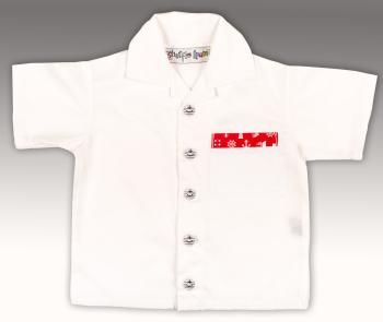 Limited Edition, Handmade, Boys Shirt - White with Nautical Theme Trim