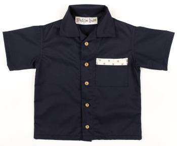 Limited Edition, Handmade, Boys Shirt - Navy with Star Trim