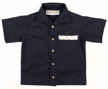 Limited Edition, Handmade, Boys Shirt - Navy with Star Trim