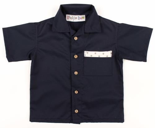 Boys Shirt - Navy with Star Trim