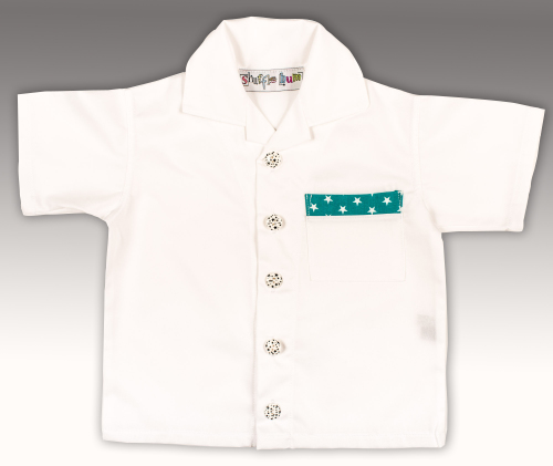 Boys Shirt - White with Green and White Star Trim