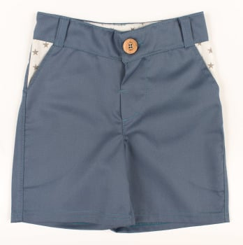 Kids Silver Blue Shorts with Star Trim
