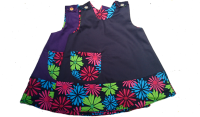 Handmade, Girls 2 in 1 Dress - Limited Edition - Navy with Flower Trim