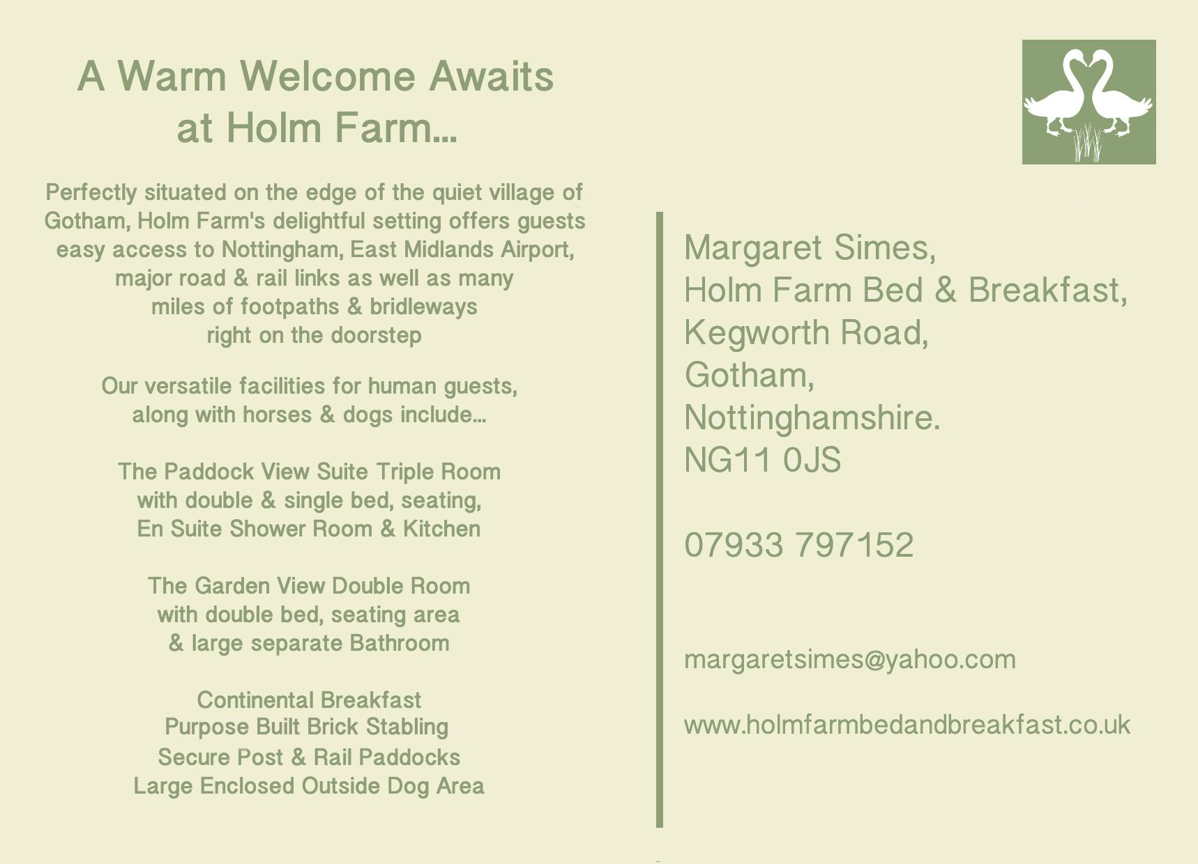 Reverse of Room Card for Holm Farm B&B
