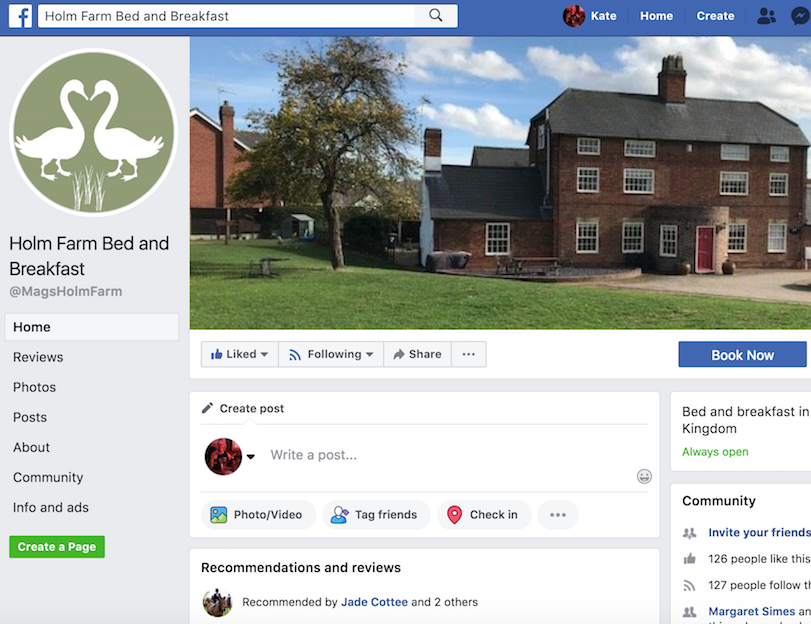 Holm Farm B&B Facebook page