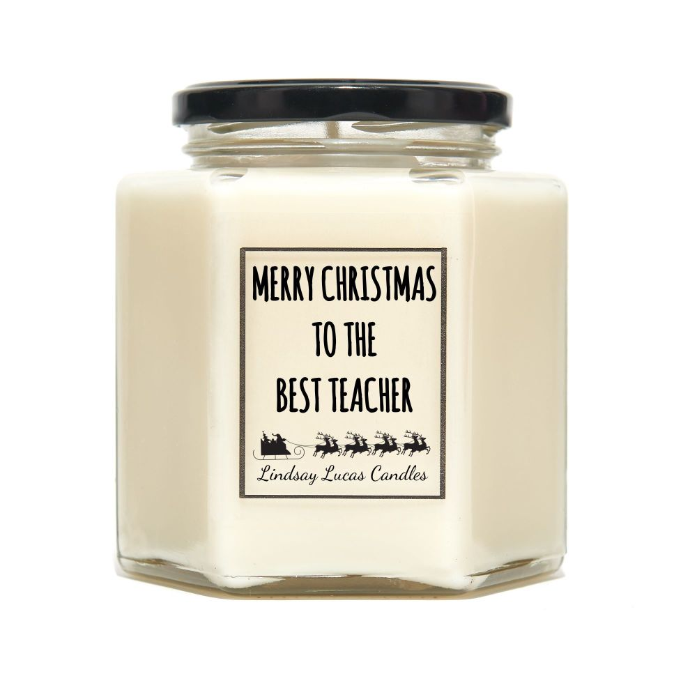 Personalised Christmas Candle For Teacher