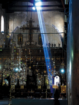 Sunbeam inside the Church of the Nativity, Bethlehem