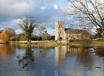 The pond and church at Falmer, Sussex