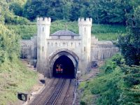 Clayton Tunnel with train lights visible