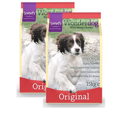 Sneyd's Wonderdog Dog Food - Original Dry - 2 x 15kg Bags Delivery Inclusiv