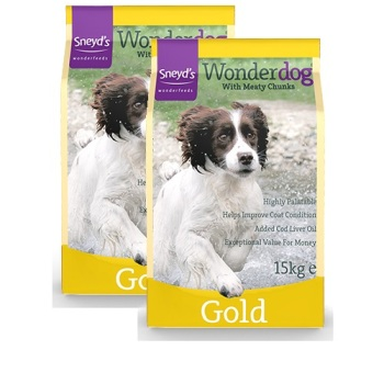 Sneyd's Wonderdog Dog Food - Gold Dry - 2 x 15kg Bags  Delivery Inclusive