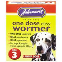 Johnsons One Dose Wormer Size 3 Large Dog