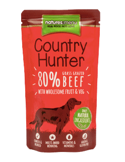 Natures Menu Country Hunter Grass Grazed Beef Pouches Dog Food 6 x 150g