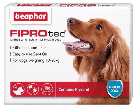 Beaphar FIPROtec Spot On Vet Strength for Medium Dogs 3 Treatment