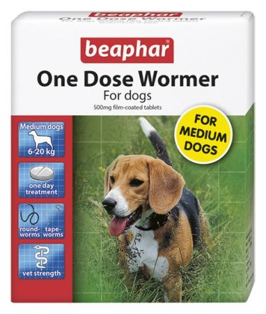 Beaphar One Dose Wormer for Medium Dogs 2 Tablets