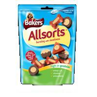 Bakers Allsorts 140g Flavoured with chicken, beef lamb & rabbit