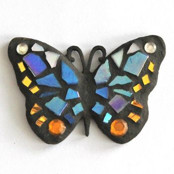 Small blue and gold mosaic butterfly
