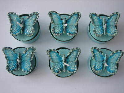 Set of Six Turquoise Blue Butterfly Tea Lights
