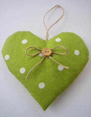 Handmade Lavender Filled 'Dotty' Hanging Heart in Apple Green Polka Dot Fabric