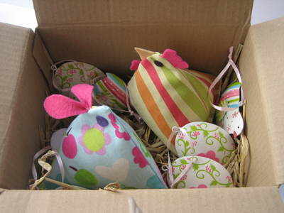 Hen and Rabbit in a Nest Gift Box