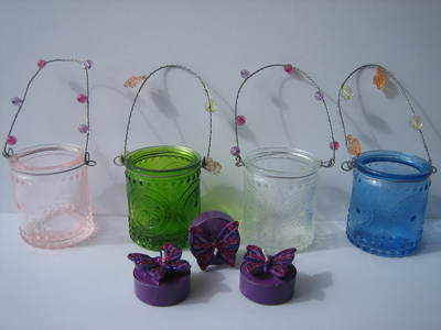 Coloured Glass Hanging Votives