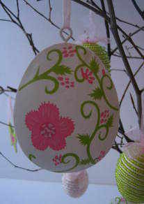 Hanging Egg with Painted Flower Decorations