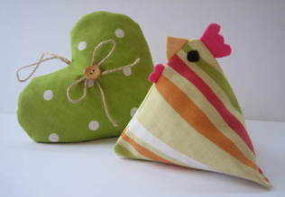 Handmade 'Candy Stripe' Hen with Hampshire Lavender
