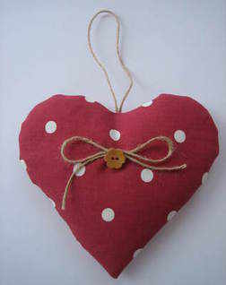 Handmade Lavender Filled 'Dotty' Hanging Heart in Cranberry Polka  Dot Fabric