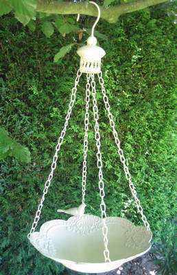 Hanging Metal, Antique White Bird Bath with Bird Detail