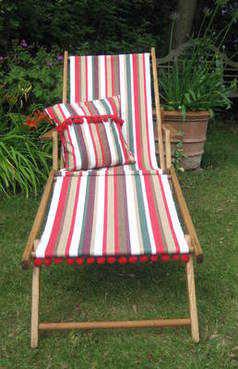 Renovated Vintage Deckchair in Wittering  Stripe and Cherry Pom Pom Trim