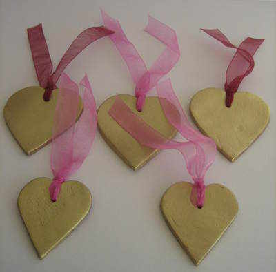 Gold Painted Ceramic Hearts