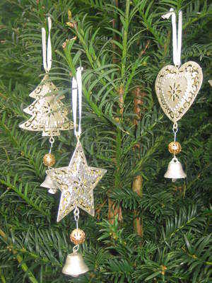 Silver Gilt Style Christmas Decorations with Bell