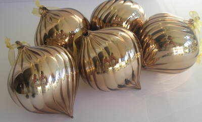Large Bronze Glass Christmas Bauble