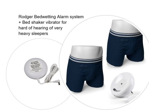 1. BOYS NAVY BOXER SHORT - UK Version Complete Rodger Wireless Bedwetting Alarm System + Vibration Cushion