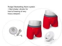 1. BOYS RED BOXER SHORT - UK Version Complete Latest 8 Tone Rodger Wireless Bedwetting Alarm System + Vibration Cushion