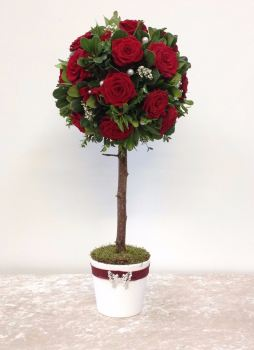 Red Rose Topiary Tree Flower Arrangement - perfect for Valentine's, Christmas, wedding anniversaries