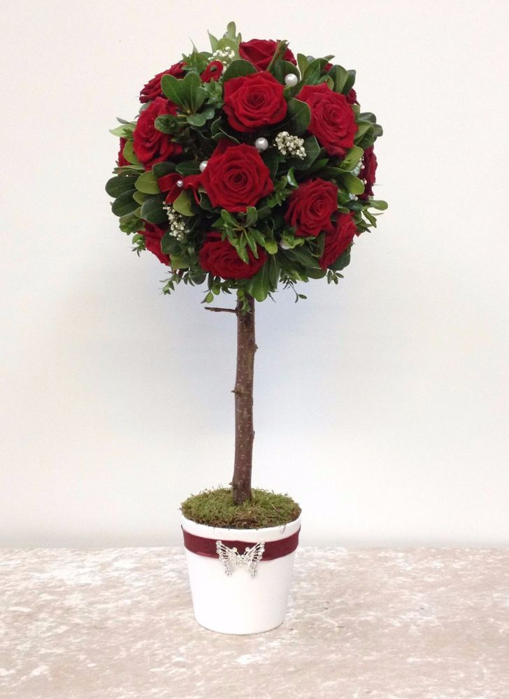 Red Rose Topiary Tree Flower Arrangement