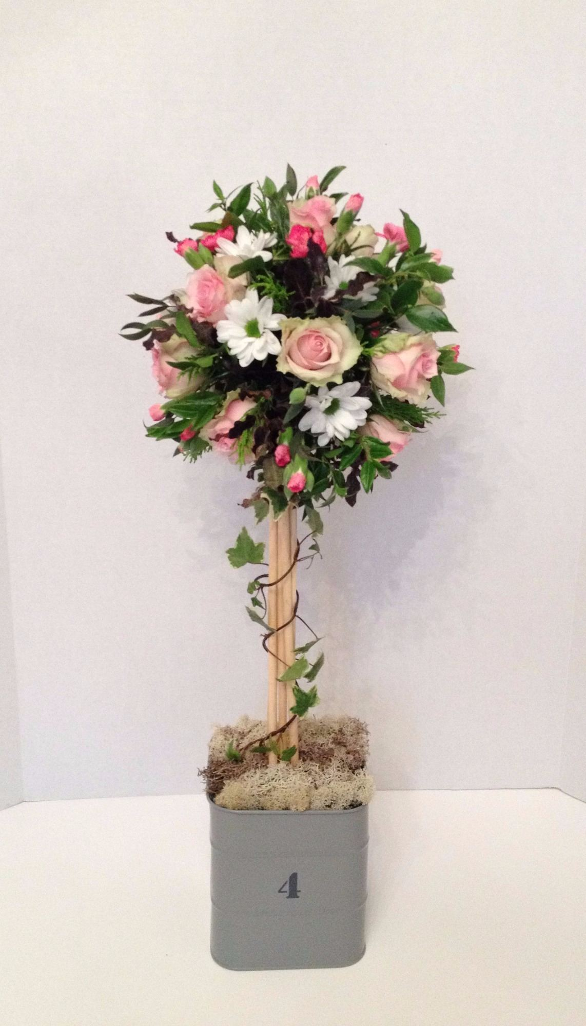 Topiary Tree Floral Design Delicate Romantic Soft Pinks