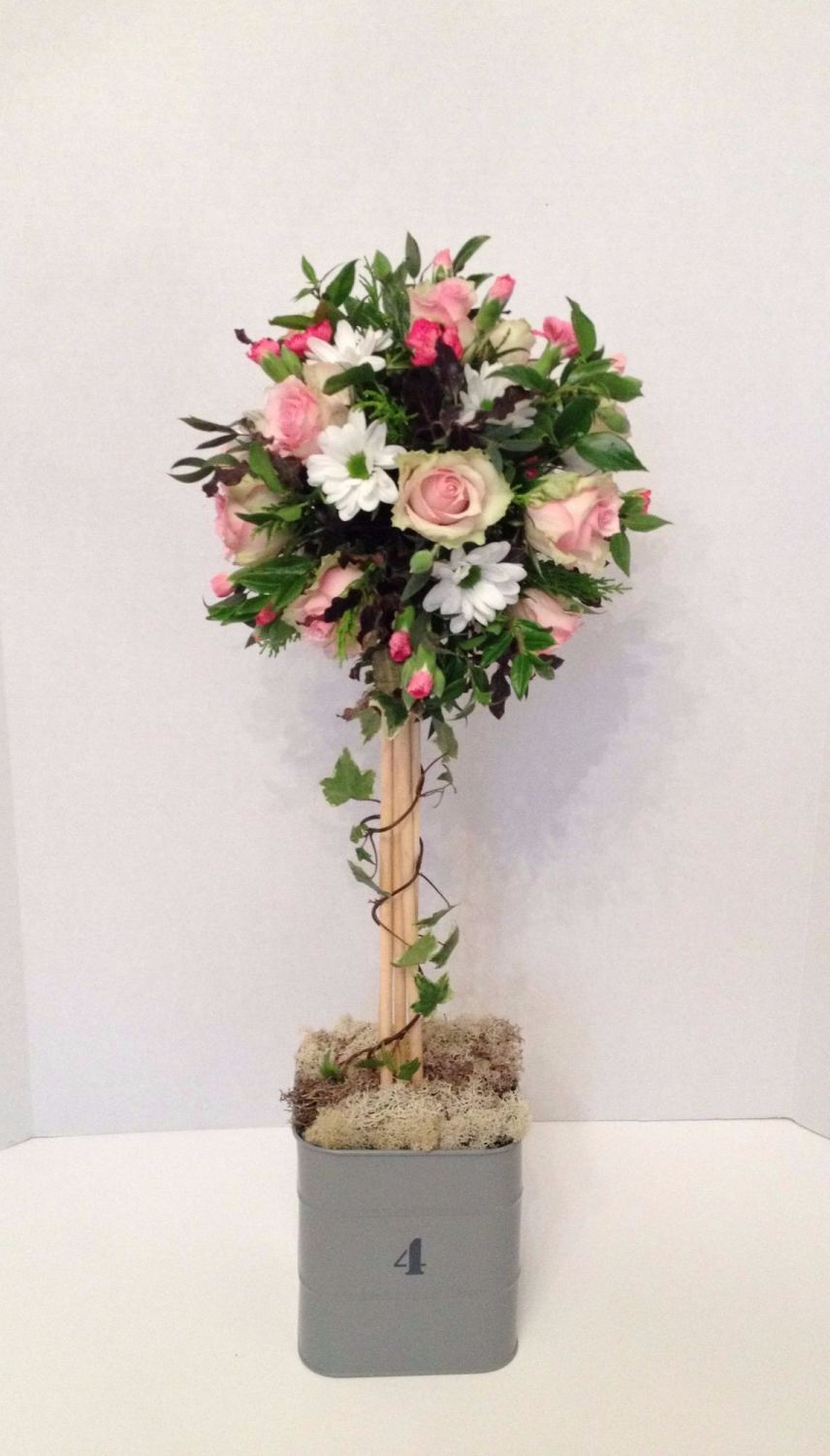 Topiary Tree floral design - delicate romantic soft pinks