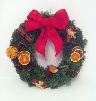 Red Robin Traditional Fresh Christmas Wreath - from £20.00 with FREE* local Delivery