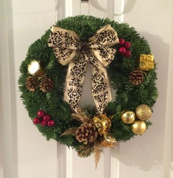Luxury, Modern, Gold Decoration, Fresh Christmas Wreath - from £19.00 - FREE* local delivery