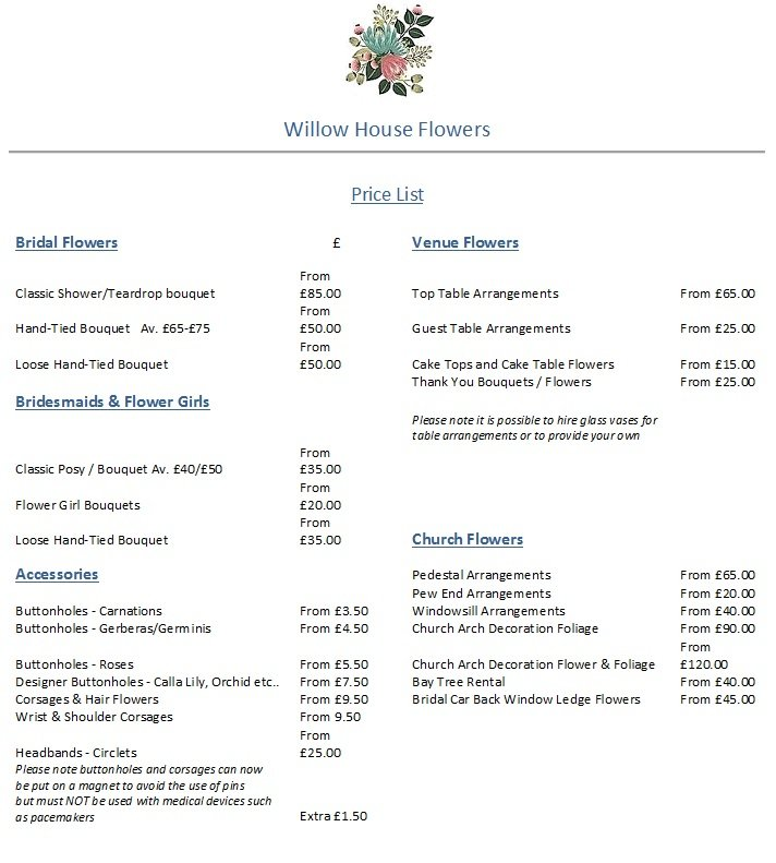 Prices Of Wedding Flowers: Willow House Flowers Wedding Flowers Price Guide