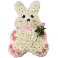 Bunny rabbit funeral tribute for baby or child - available in a choice of colours - Telephone order ONLY