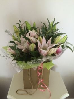 Luxury Oriental Lily Bouquet - Hand tied bouquet of lilies - White or Pink