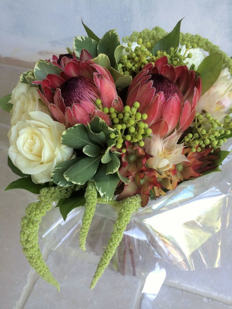 Modern grouped fresh flower bouquet - lovely textured floral arrangement £3