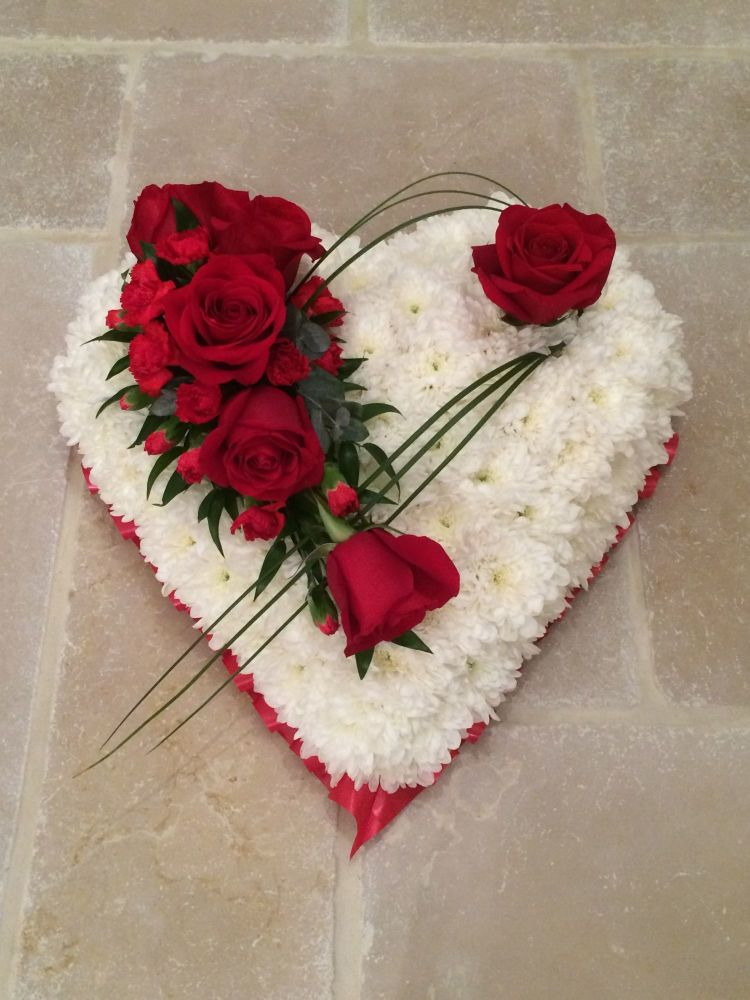 4. Traditional Heart Funeral Tribute - choice of colours and sizes availabl
