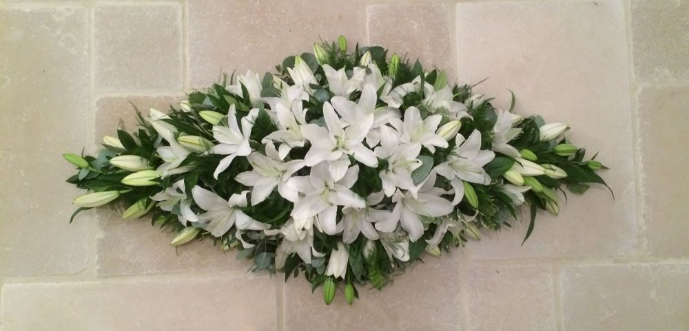 3. Premium Oriental Lily Coffin Double ended Spray - 3', 4', 5' - funeral c